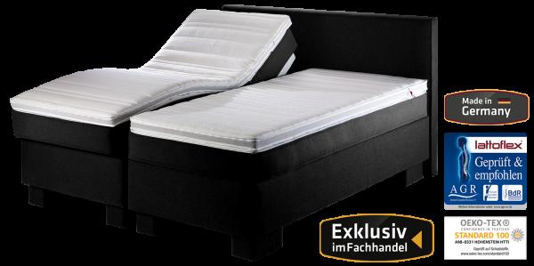 Lattoflex Doppelbett mit Motorrahmen Lattenrost, Matratze, AGR zertifiziert, Ökotex Siegel, exklusiv im Fachhandel