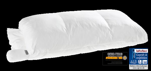VarioPerfect das Lattoflex Schlafwerk Kissen, Zugang zur Füllung in allen drei Kammern, individuell einsetzbare Nackenrolle und Einsteckkissen machen es zu unserem variabelsten Kissen